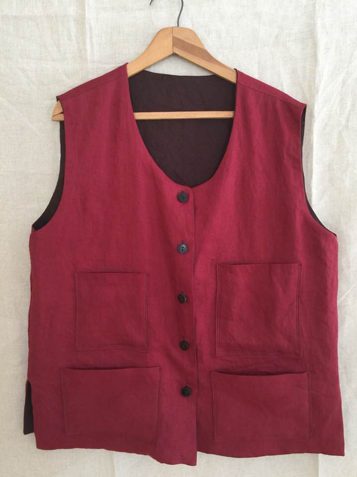 Image of reversible linen vest