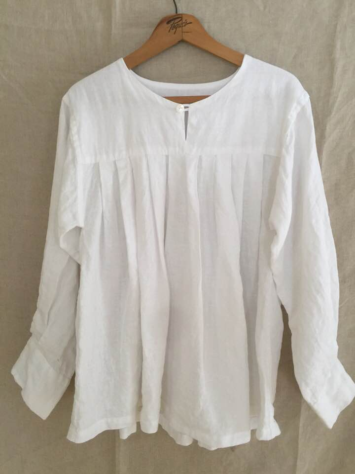 Image of white linen bodice blouse