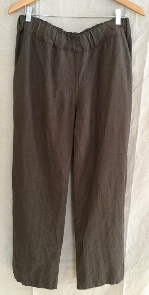 Image of brown linen trousers