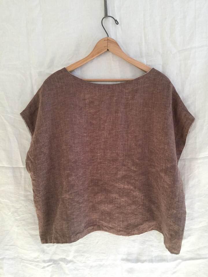 Image of reversible linen boxy tee shirt