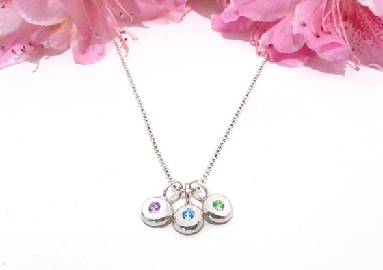 Image of Sterling Pebble Mother's Necklace Personalized Birthstones
