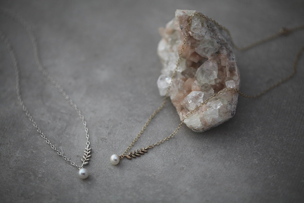 Image of fern leaf and pearl necklace (in silver or 9ct gold)