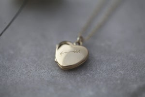 Image of *NEW* little arrow heart locket in 9ct gold or silver