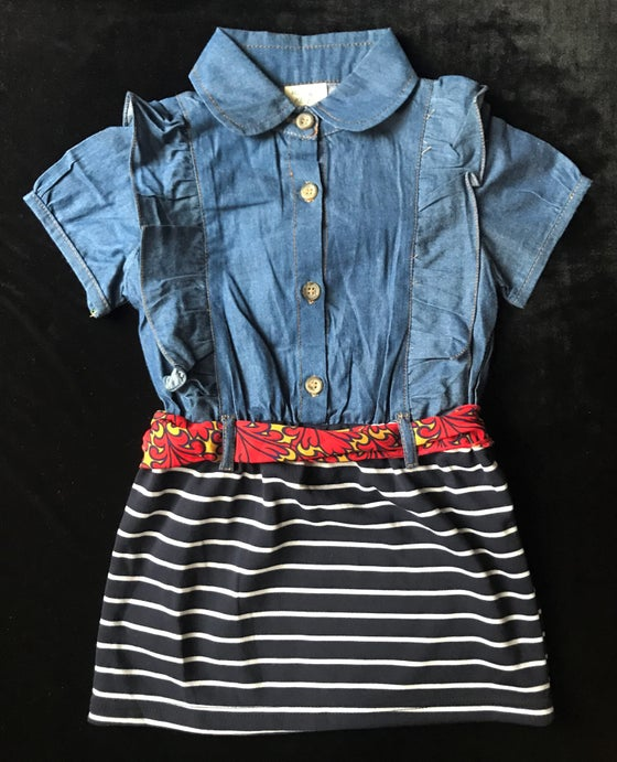 Image of Denim Ruffle Dress