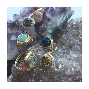 Image of Golden Cosmic Ring - Aura Agate Crystal