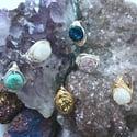 Blue Cosmic Ring - Aura Agate Crystal