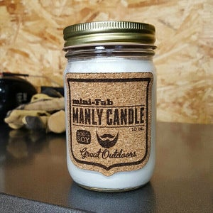 Image of Man Candle - Barbershop Scent - Manly Natural Soy Candle Hand Poured with Cotton Wick