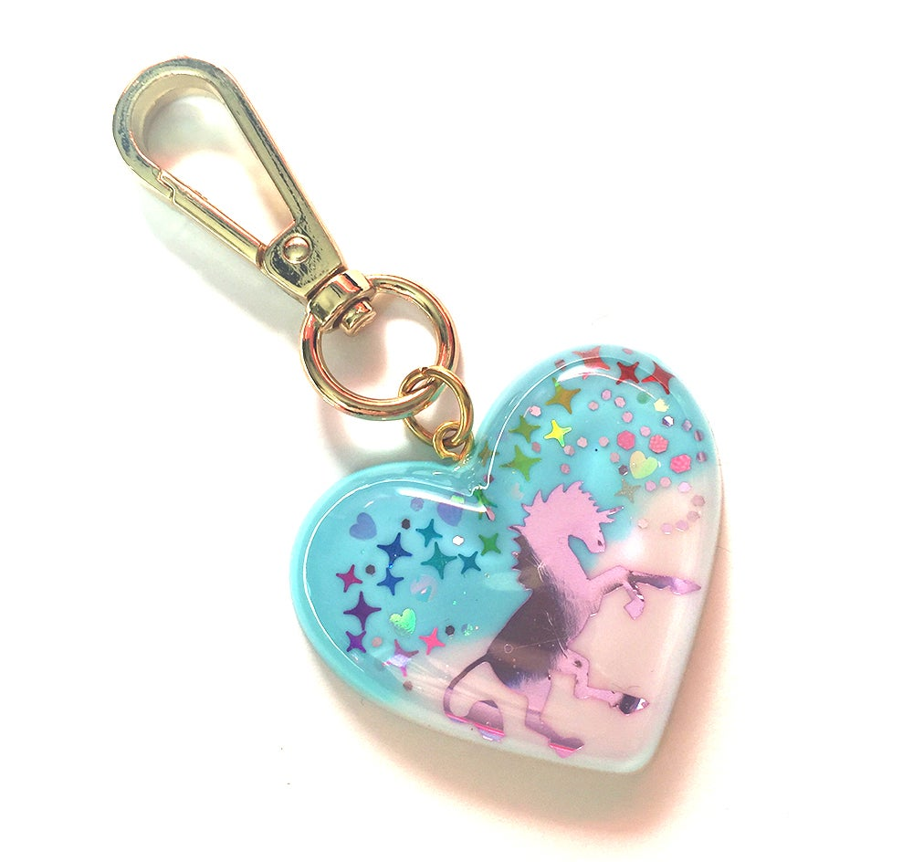 Image of I Really Believe In Unicorns Heart Bag Charm