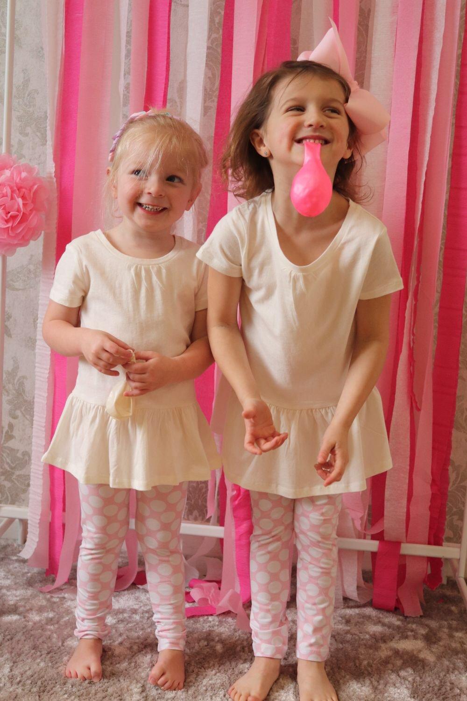 Image of Pink/white polka dot leggings