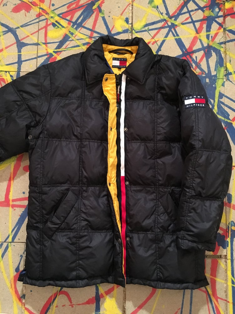 7c9008531 ... Image of 90S VINTAGE TOMMY HILFIGER DOWN WARM COAT/JACKET. OVERSIZED S/M