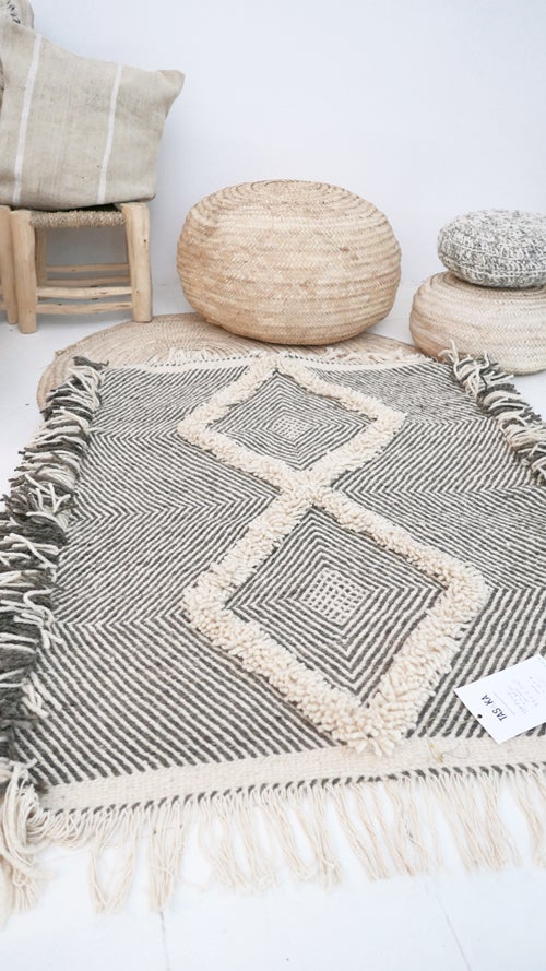 Perfect muima* | Moroccan Small Kilim Rug - Diamond Pattern Flatweave #4 NF75