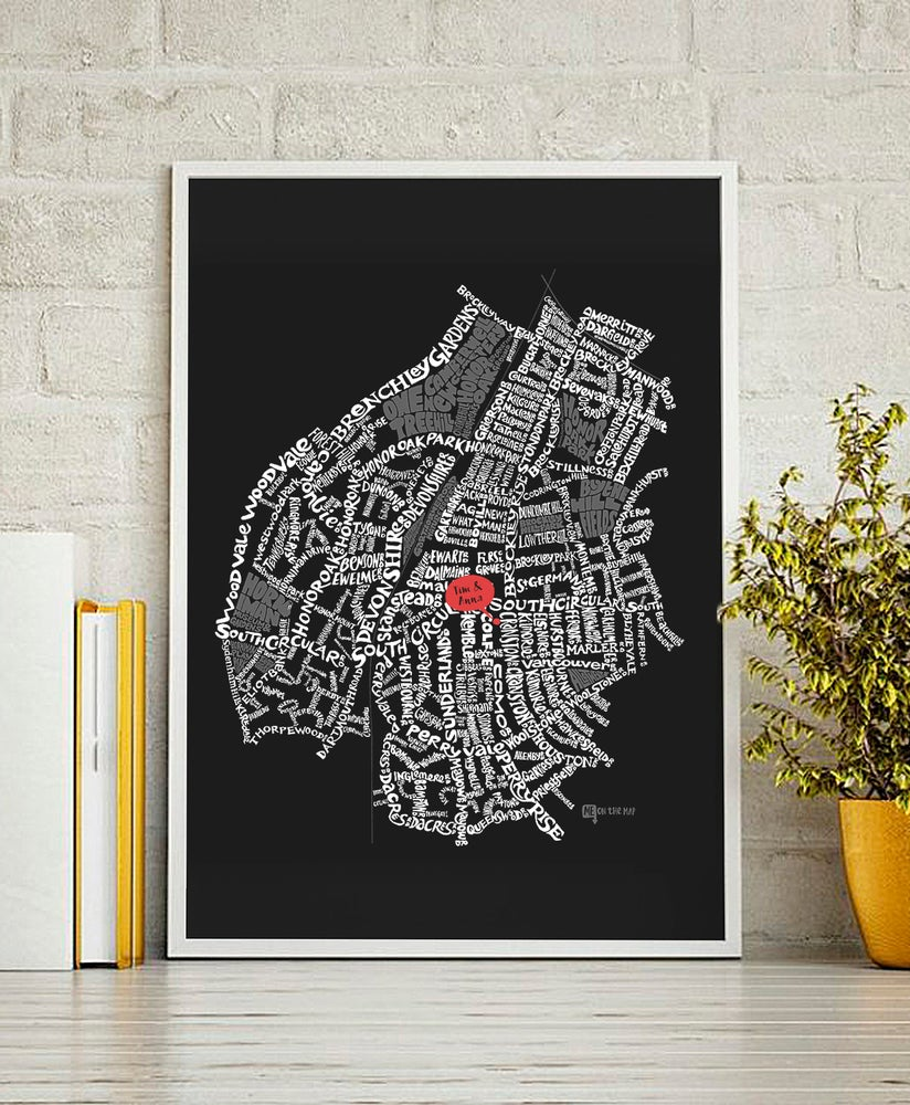 Image of Forest Hill & Honor Oak Park SE23 - SE London Type Map - Black