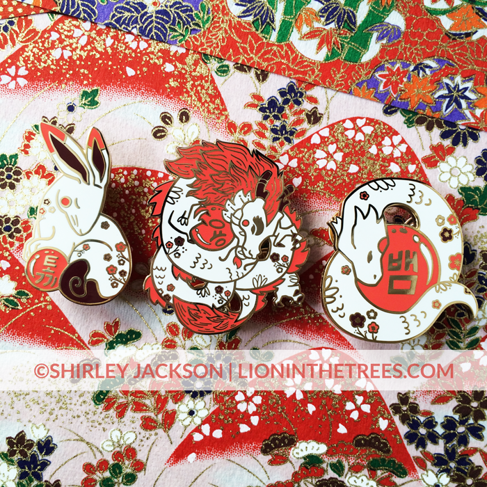 Image of Chinese Zodiac Series 3 Red and White Pins