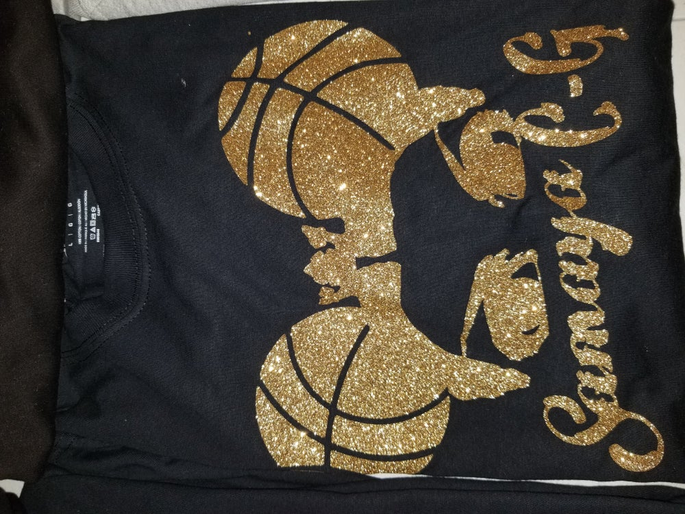 Image of EXCLUSIVE BLACK AND GOLD SIGNATURE TEE W/ SPARKLE