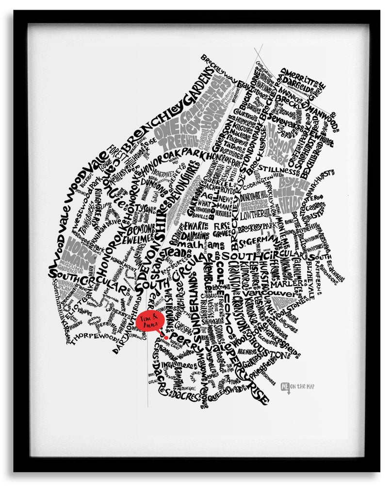 Image of Forest HIll & Honor Oak Park SE23 - SE London Type Map - White
