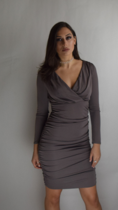 Image of Grey Top Wrap Fitted Dress