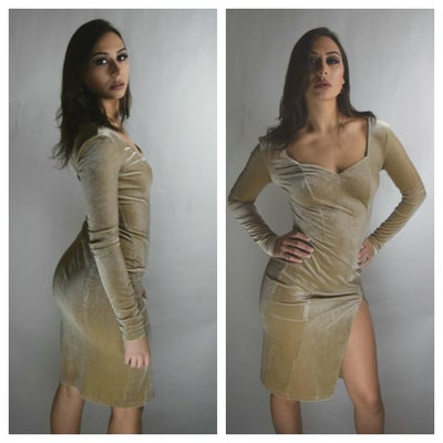 Image of Velvet Tan Open Side Slit Dress