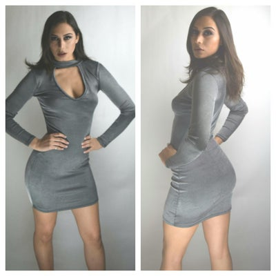 Image of Choker Grey Fitted Dress