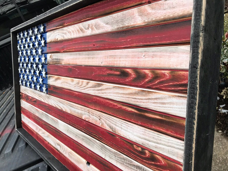 Image of Medium American Flag Rustic or Burned Finish