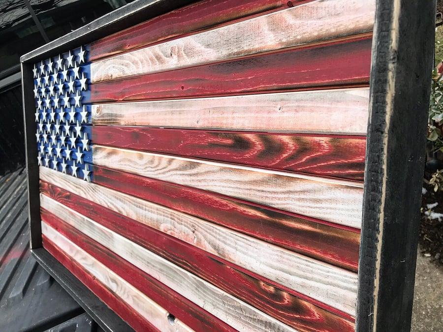 Image of Medium American Flag Rustic or Burned Finish