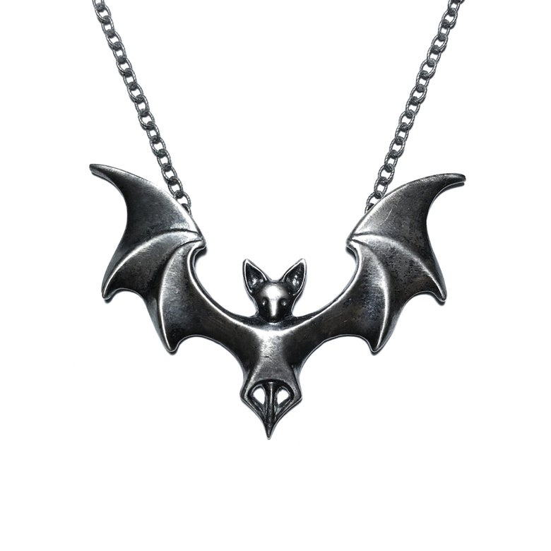 Image of Vampira necklace in oxidized sterling silver