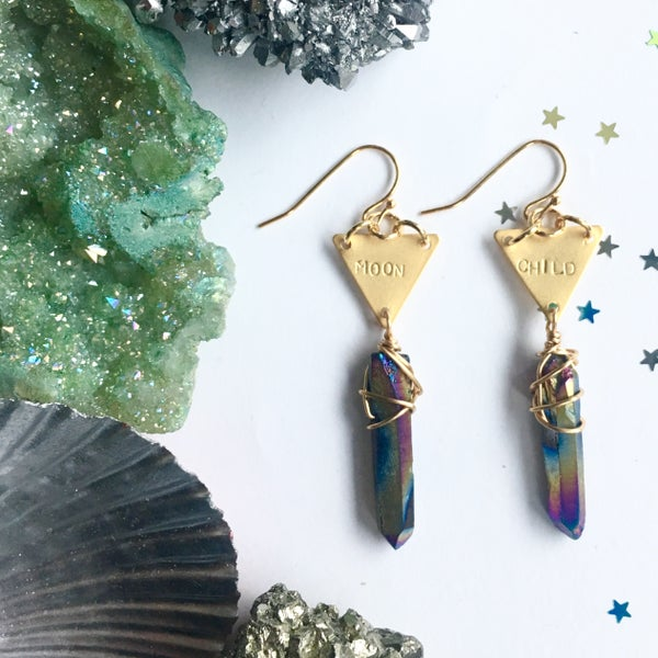 Image of Moonchild Earrings - Aura Quartz Crystal