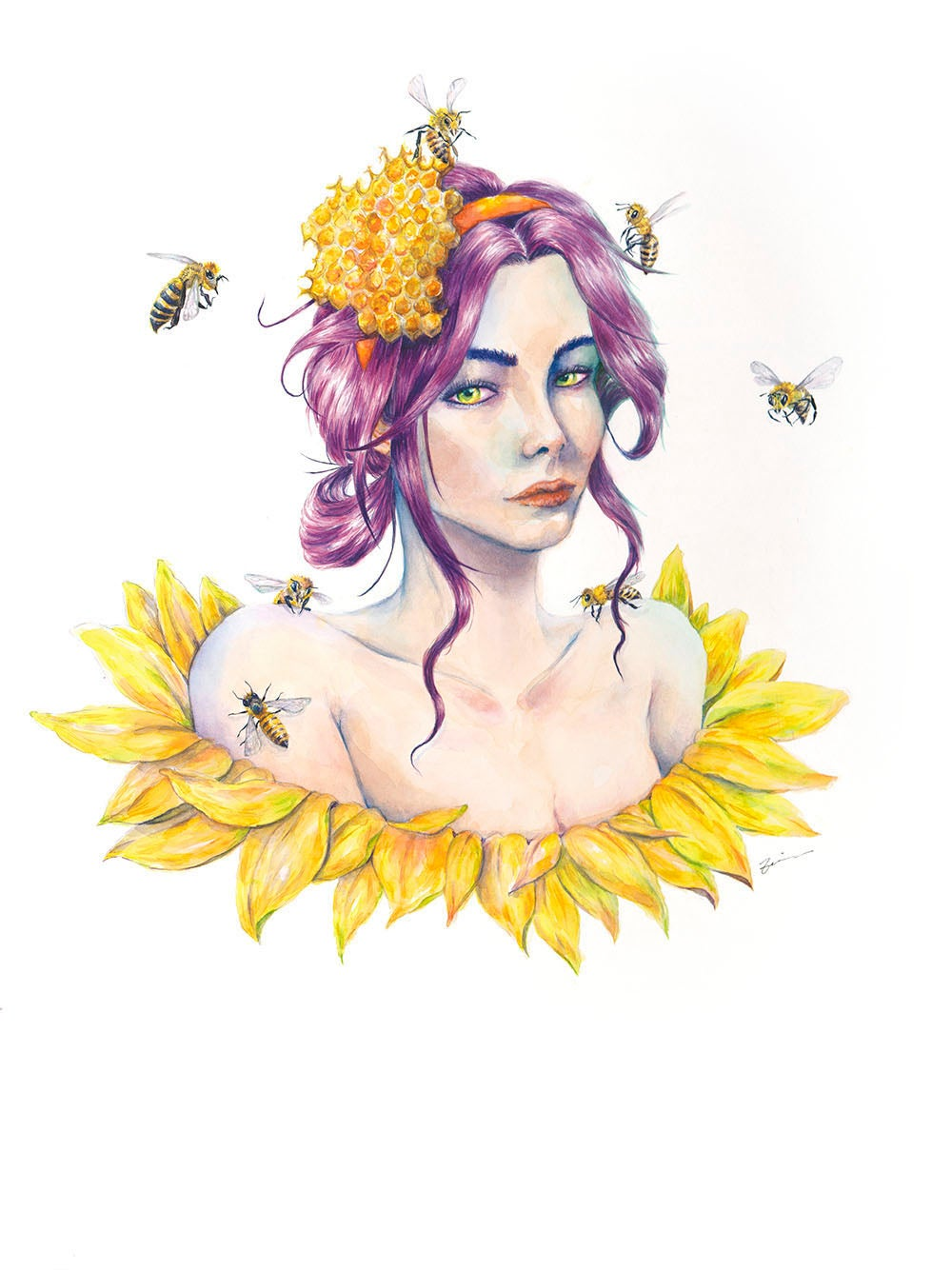 Image of A girl and her bees