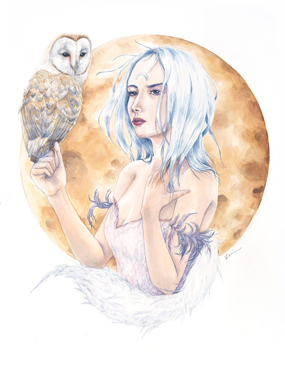 Image of A girl and her owl