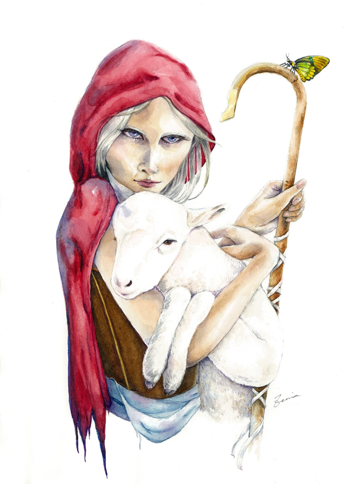Image of A girl and her lamb