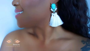 Image of White Tassel Earrings