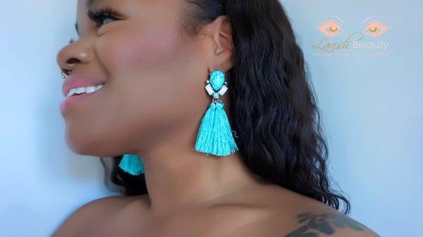 Image of Light Blue Tassel Earrings