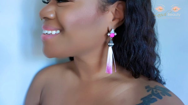 Image of Pink Tassel Earrings