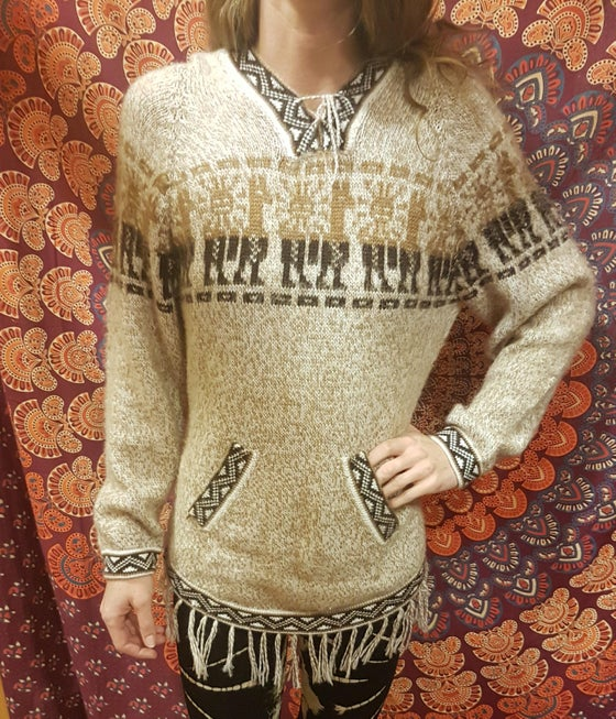 Image of Alpaca Natural Fringe Sweaters
