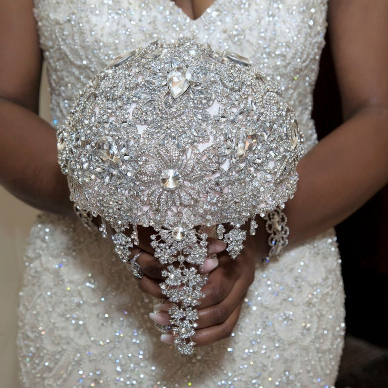 "Image of ""Jamie"" Full Bling Brooch Bouquet"