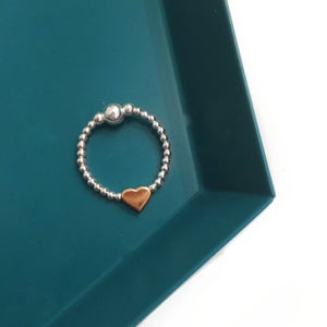 Image of Sterling silver & rose gold heart ring