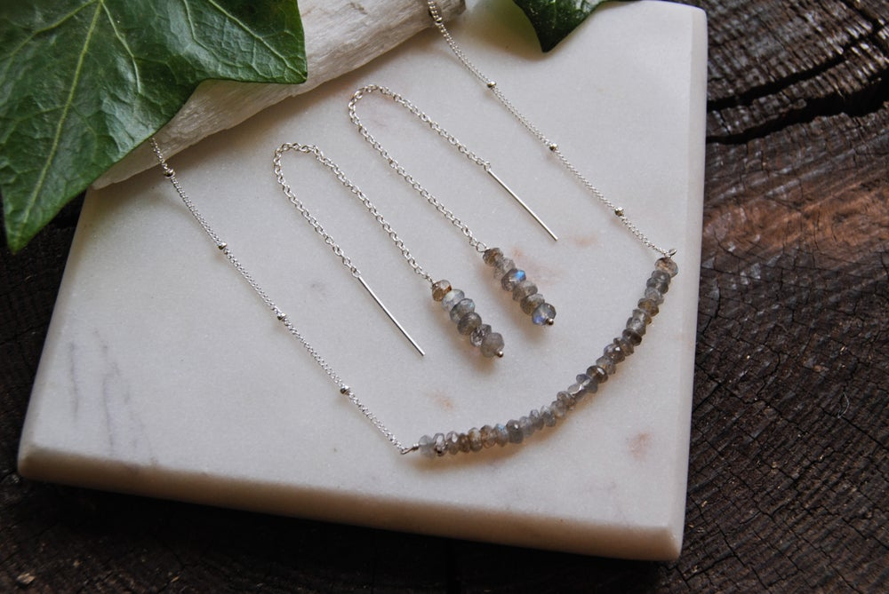Image of Labradorite earrings and necklace