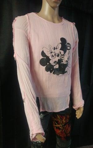 Image of Mickie and Minnie pink bondage shirt