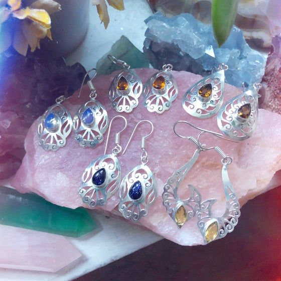 "Image of ""Leilah"" Crystal Sterling Silver Saw-Pierced Earrings"