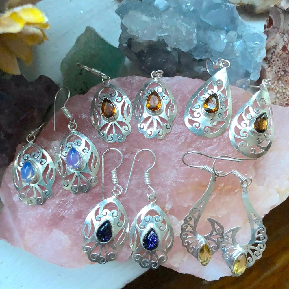"""Image of """"Leilah"""" Crystal Sterling Silver Saw-Pierced Earrings"""