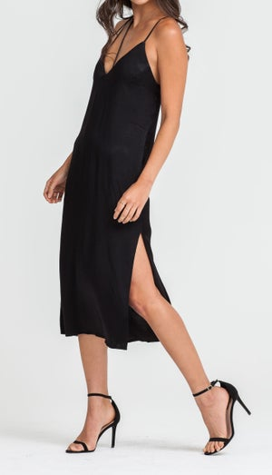 Image of Black Silk Slip Dress