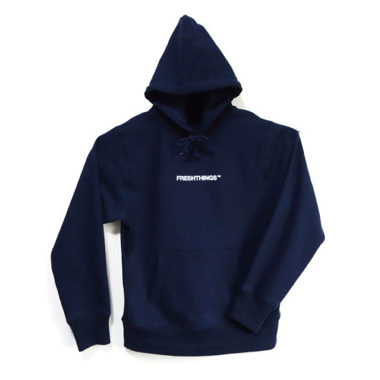 Image of LOGO HOODED SWEATSHIRT / NAVY