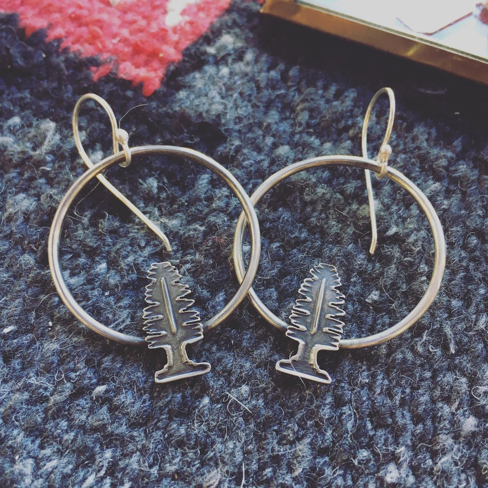 Image of Tree Hoops Sterling Silver