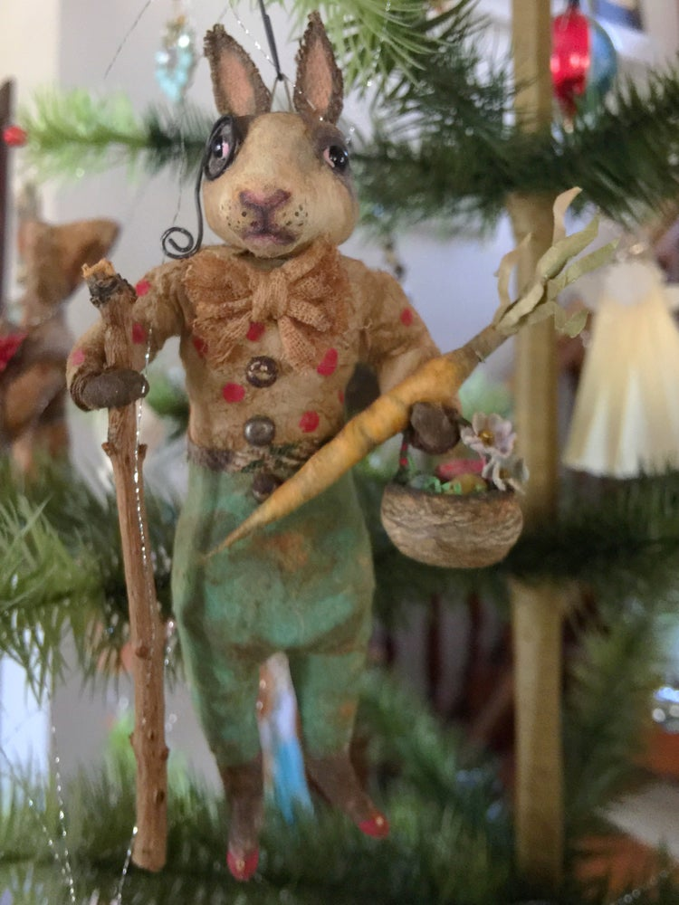 "Image of German Style Spun Cotton Rabbit ornament ""Otto"""