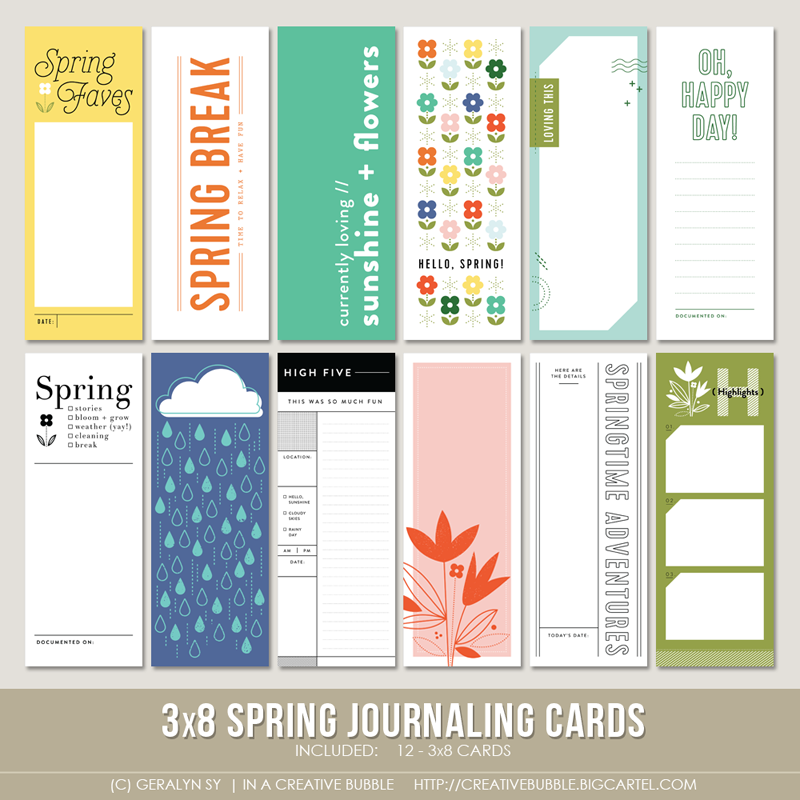 Image of 3x8 Spring Journaling Cards (Digital)