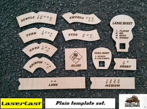 Image of Gaslands manoeuvre templates, double and single-sided.