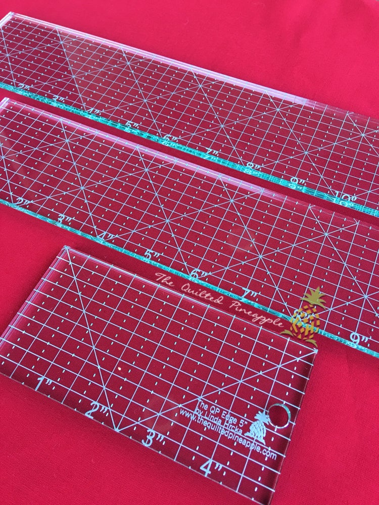 Image of GREEN QP Edge straight rulers for longarm and domestic machines.
