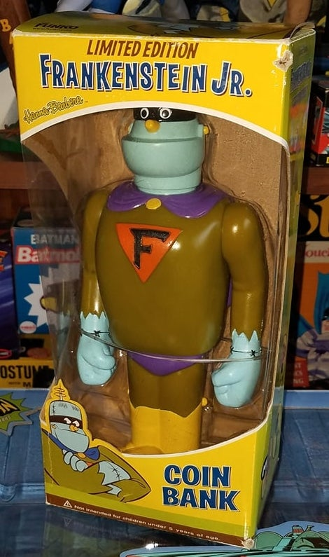 """Image of FRANKENSTEIN JR. 12"""" COIN BANK - FUNKO 2008! NEVER REMOVED FROM BOX! AUTOGRAPHED!"""
