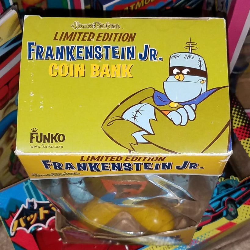 "Image of FRANKENSTEIN JR. 12"" COIN BANK - FUNKO 2008! NEVER REMOVED FROM BOX! AUTOGRAPHED!"