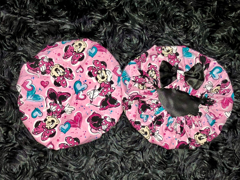 Image of Minnie Mouse Kids bonnet (pink/black)
