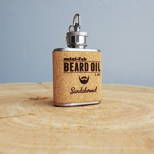 Image of Beard Oil - Sandalwood Scent - 1 oz. Reusable Flask - Men's Grooming All-Natural Organic Oil - Cork